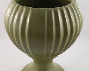 Vintage  Green Art Deco Floraline USA 407 Pedestal Vase