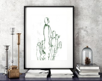Cactus Wall Art, Printable Decor, Modern Print