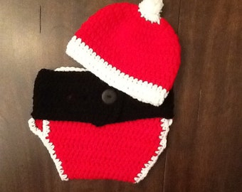 Crochet Santa Claus diaper cover and hat set