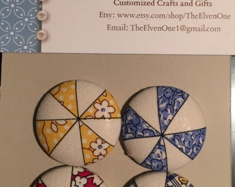 Fabric Covered Button Magnets - Triangle Multicolor Beach Ball Lines