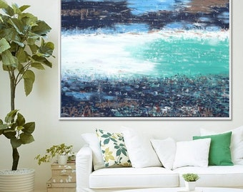 Large Abstract Painting, Abstract Art Print, Abstract Seascape, Beach Decor, Abstract Art, Blue Abstract, Giclee Print ,Acrylic Painting