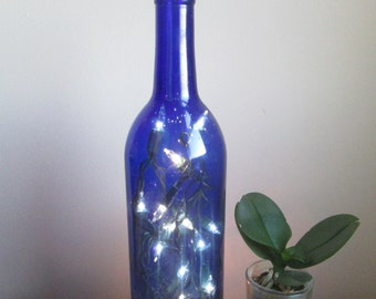 Cobalt Blue Wine Bottle Light, Blue Decor, Bottle Lamp, Accent Light, Blue Accent, Cobalt, Lighting, Mantle Decor, Decoration, Side Table