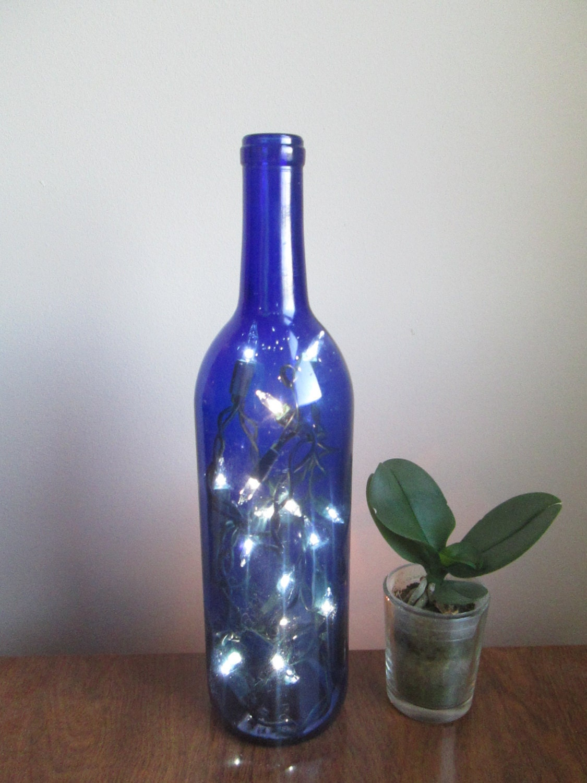 Cobalt blue wine bottle light blue decor bottle lamp accent for Bottle decoration