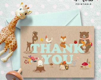 Woodland Animals Thank You Card |  Printable Instant Download