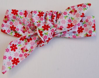 Childs Knotted Headband Pink and White Floral Elasticated back