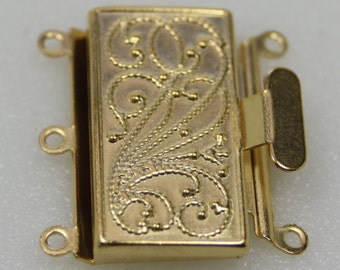 Antique Gold Box Clasp, 3 Strand, Vintage Style