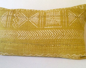Mustard Yellow Authentic Mud Cloth Pillow Cover