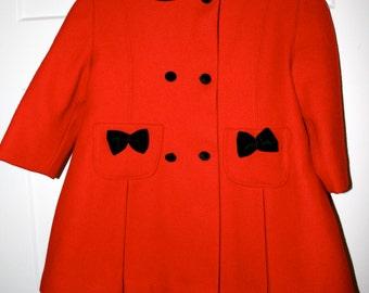 Red Wool Coat//4T Child's Winter Dress Coat//Vintage Red Coat