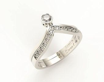 Engagement ring & wedding band, 14K white gold with diamond engagement ring,Anniversary ring, Chevron ring, Diamond ring, DC-1013-1W2