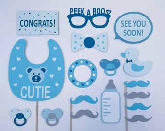 Baby Boy Baby Shower Props/ Baby Shower Gift /Boy Baby Props / Baby Photo Booth / Fully Assembled / 17 pc