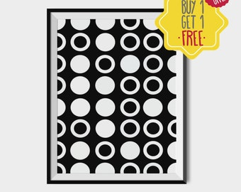 Black and white Polka dot art, printable abstract art download, pattern print, art for boys room, geometric decor, minimalist home decor