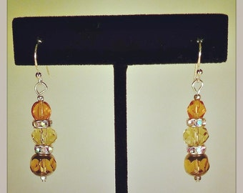 Amber Toned Faceted Glass Earrings