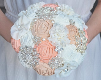 Bridal bouquet, fabric bouquet, brooch bouquet, peach and beige.