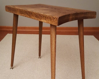 mid century modern side table, reclamied salvaged wood, rustic