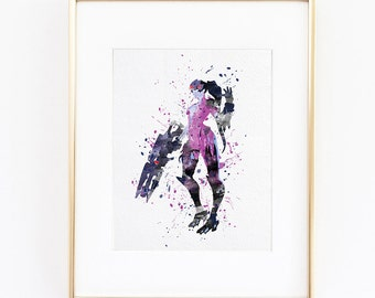 Overwatch Widowmaker Watercolor silhouette Fine Art Print, high quality poster for wall decor