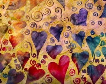 RAINBOW HEARTS BATIK Fabric on Gold by Island Batik 100% Cotton - Quilt Shop Quality