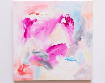 Original Abstract Painting with Magenta Gray and Blue