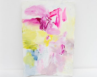 Small Abstract Painting on Paper in Bright Pink and Pastels