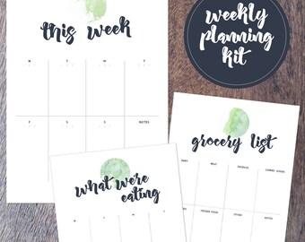 Weekly planning kit - printable A4 - Digital file
