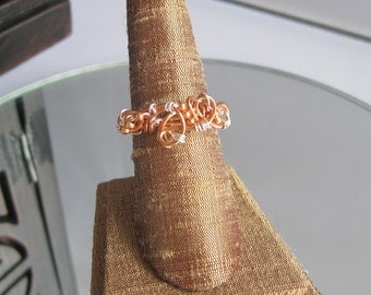 Copper Ring with Copper Beads and a touch of silver