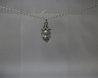 White Glass Pearl with Silver Plated Bead Caps Chain Necklace