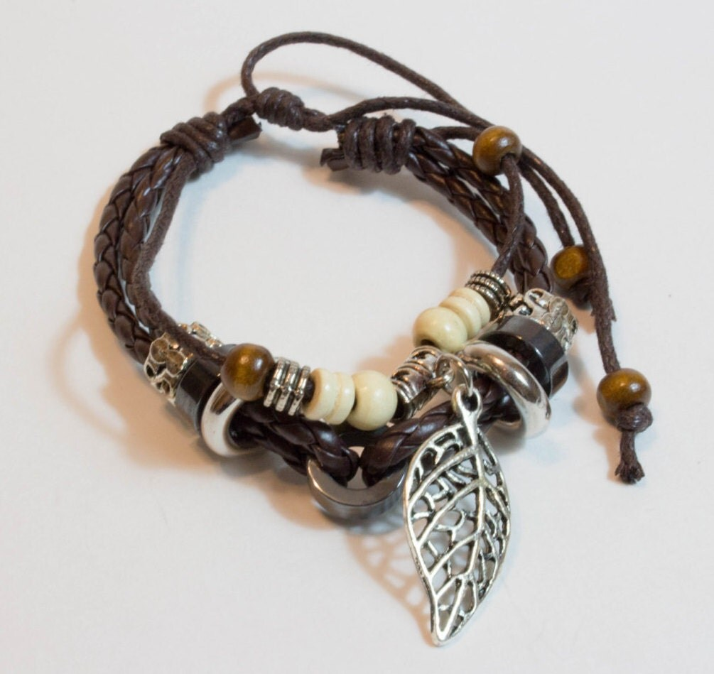 Leather Wrap Charm Bracelet: Layered Leather Wrap Bracelet Leaf Charm Adjustable