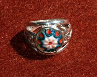 Ring from 925 Silver made in artisan way with ceramic hand painted detail
