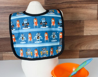 Small bib robot 0-1 years for baby boy baby boy blue robot