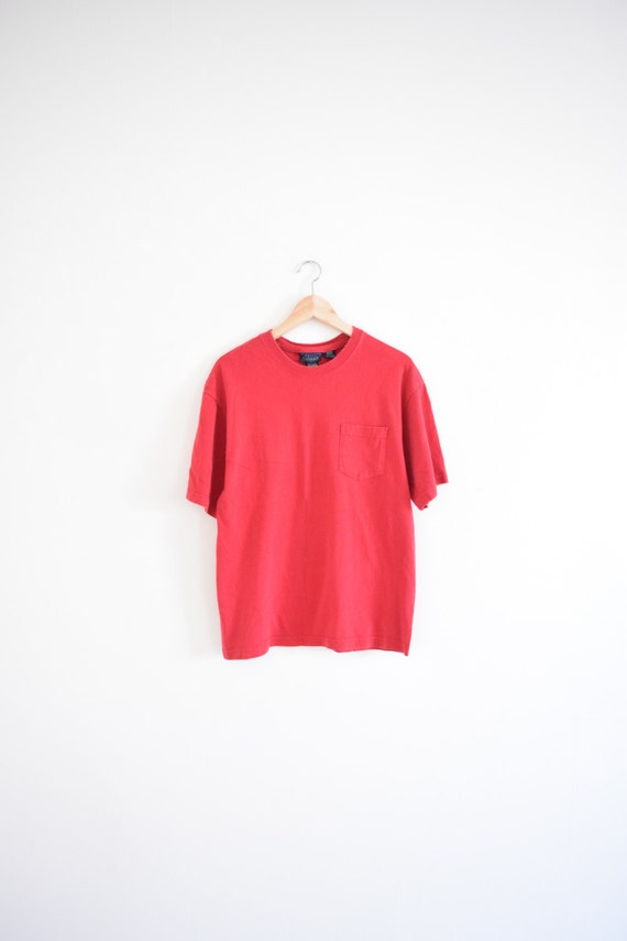 red pocket tee size adult medium 90s t shirt