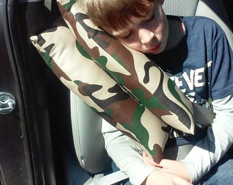 MADE TO ORDER - Travel Seat Belt Pillow - Soft + Hard - Perfect For Kids & Adults - Pick Your Fabric