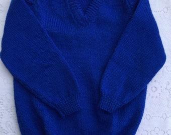 royal blue v neck sweater hand knit
