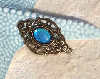 Turquoise Bohemian bronze pendant / cabochon pendant Bohemian boho hand painted for Choker necklace/pendant