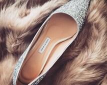 EU 40,low heel wedding shoes,silver wedding shoes,low heels,Glitter Shoes,wedding shoes,Bridesmaid shoes,girlfriend gift,Pumps, Mid heel