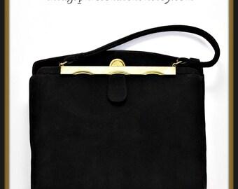 Vintage Franklin Simon Handbag,Vintage Suede Handbag,Vintage Franklin Simon Suede Handbag,Vintage Black Suede Handbag,Vintage Pocketbook,Bag