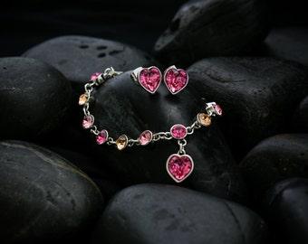 Sweet Hearts - Rose crystal Swarovski jewellery set including bracelet, earrings, necklace set in rhodium finish