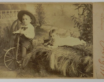 Antique Cabinet Card Photo of Two Young Children, one on a tricycle, circa 1890 - Photographer Henry Holborn, When Gallery, St. Louis, MO