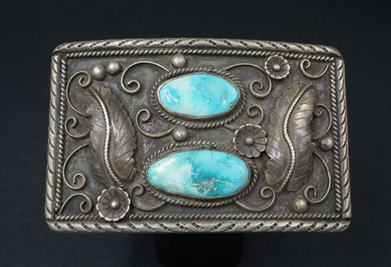 "4"" D Paul Navajo Sterling Silver Turquoise Hand Signed Belt Buckle 100g M345"