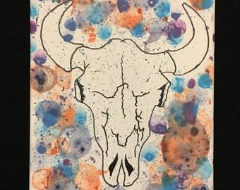 Canvas Bull Skull 8X10