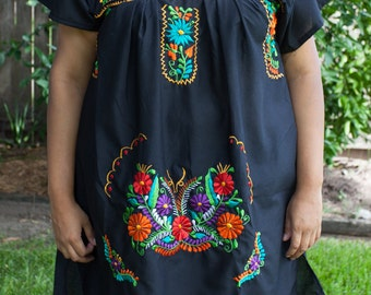 Black Mini Dress with Colorful Embroidery XL