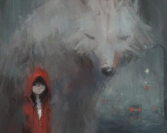 Red Riding Hood Art Print // Gifts for Kids