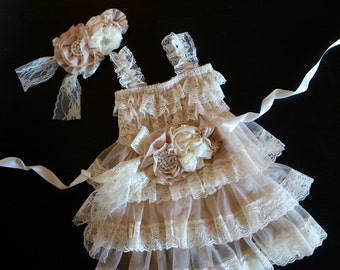 Lace Flower Girls Dress , Sash and Headband Set,  Cream Rustic Lace Dress, Flower Girl Outfit,Ruffle Dress ,Birthday Outfit
