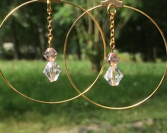Earrings creole rings in gold and pearls swarovski
