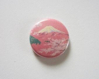 Pink Mountain pinback button badge