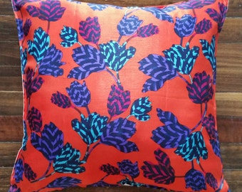 Bright floral, abstract faux silk cushion cover