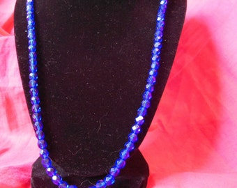 Blue and crystal necklace