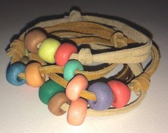 Adjustable Leather Bracelet with Handmade Beads