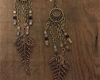 Brass Feather Earrings