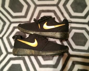 Custom Nike roshe run black and gold