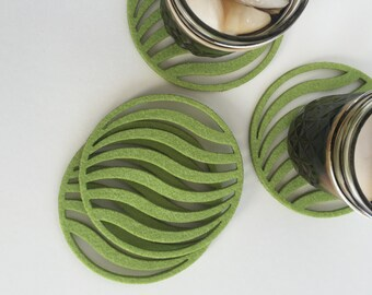Coasters - Drink Coasters - Cool Coasters - Waves Coasters, Lime Green, Modern, Round, Industrial Felt Coasters, Cool Coasters