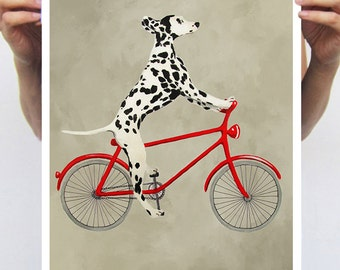 Dalmatian painting, print from original painting by Coco de Paris: Dalmatian on bicycle